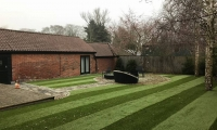 Darren Huckerby 2018 striped artificial grass